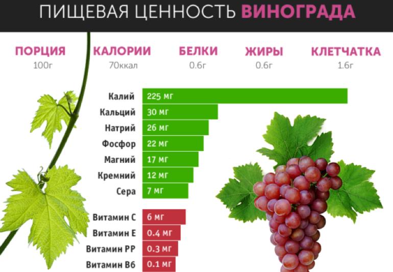 Содержание витаминов в винограде